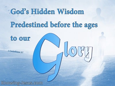 1 Corinthians 2:7 We Speak God's Wisdom In A Mystery (blue)